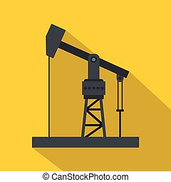 Oil industry equipment icon, flat style - Oil industry...