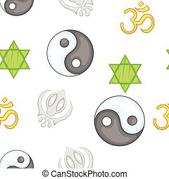 Religious faith pattern, cartoon style - Religious faith...