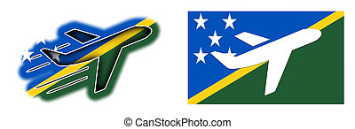 Nation flag - Airplane isolated - Solomon Islands - Nation...