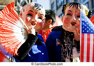 Chinese new year parade in New York Chinatown