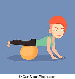 Young woman exercising with fitball. - Young caucasian woman...