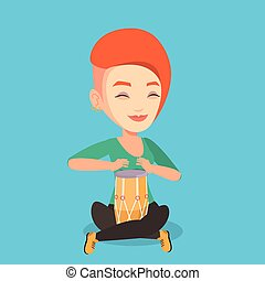Woman playing ethnic drum vector illustration. - Young woman...