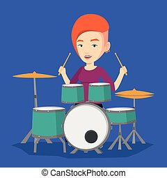 Woman playing on drum kit vector illustration. - Young woman...