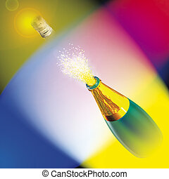 sparkling wine - 3d render illustration, uncork sparkling...