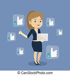 Woman with like social network buttons.