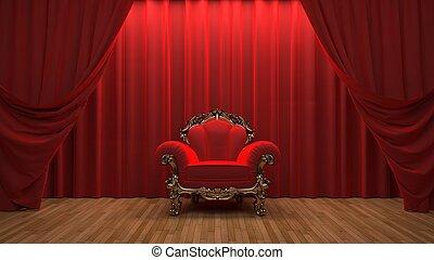 red velvet curtain opening the scene