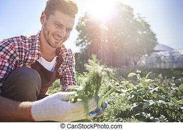 Man checking his recent crops