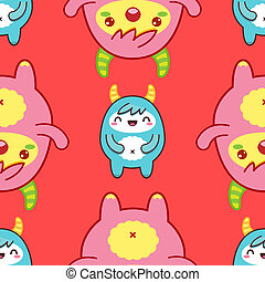 Seamless pattern with cute yeti. illustration - Seamless...