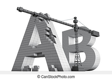 AB brick letters and crane - 3D rendering of brick AB...