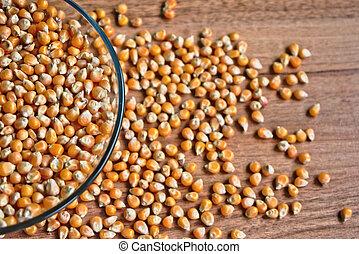 Popcorn Kernels in a Bowl - Popcorn kernels in a bowl on a...