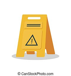 Wet floor object flat logo isolated on white background vector illustration. Yellow sign caution cleaning