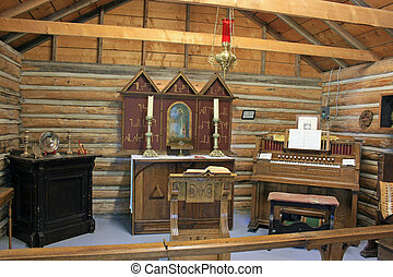 Pioneer Altar - Pioneer altar at historical Fort Macleod,...