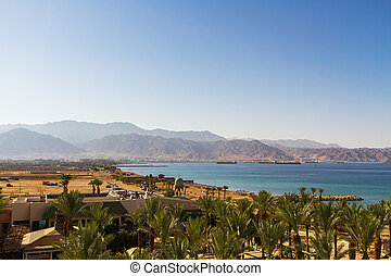 View on Aqaba sea port . Red Sea .