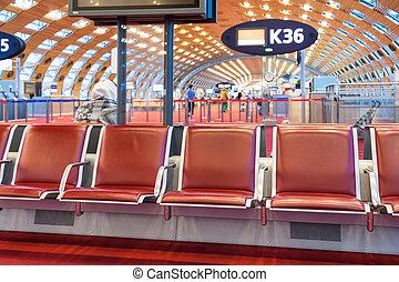 salón, aeropuerto, salida, rojo, asiento