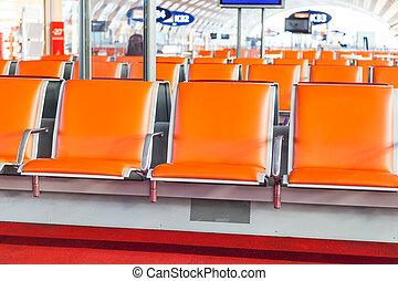 aeropuerto, asiento, salida, vacío,  área