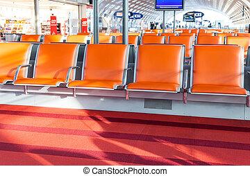 aeropuerto, vacío, salida, vestíbulo, asiento