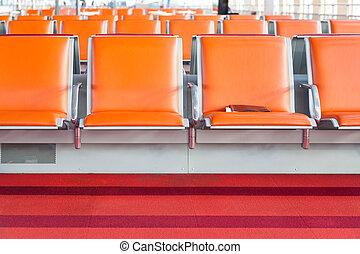 salón, aeropuerto, salida, vacío, asiento