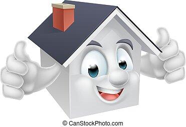 House Cartoon Character - A happy cartoon house man mascot...