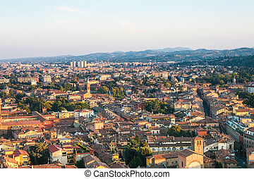above view of residential area in Bologna city
