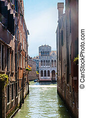 narrow canal in Venice city
