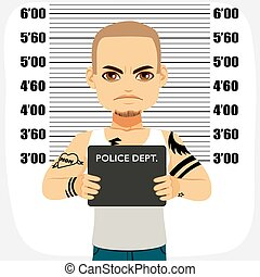 Male Criminal Mugshot - Dangerous male criminal with tattoos...
