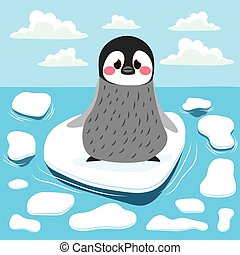 Global Warming Penguin - Cute sad baby penguin lost alone on...