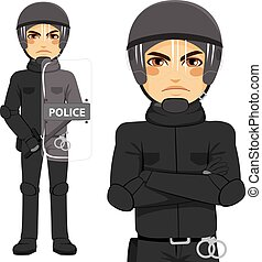 Police Riot Officer - Young police man riot officer standing...