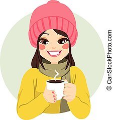 Woman Having Hot Chocolate - Beautiful woman wearing winter...