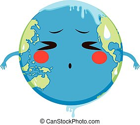 Global Warming Concept Melting - Cute Earth character...