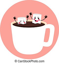Marshmallows Bathing on Cocoa - Cute marshmallow friends...