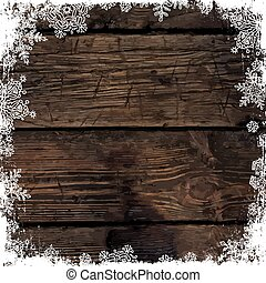 Wooden brown christmas background with snowflakes. Frozen ornament isolated frame. Holiday Postcard template