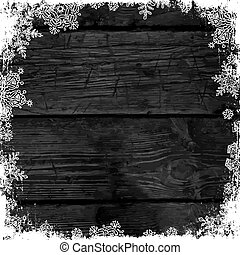 Wooden black christmas background with snowflakes. Frozen ornament on isolated frame. Holiday Postcard template
