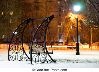 Bench in Moscow evening park background hd