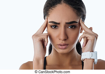Close up of upset woman looking frustrated
