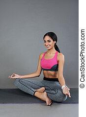 posición, niña,  yoga, encantado, Sentado