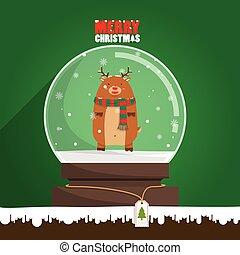 Merry Christmas reindeer in snow globe