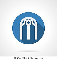 Intricate arches blue round vector icon