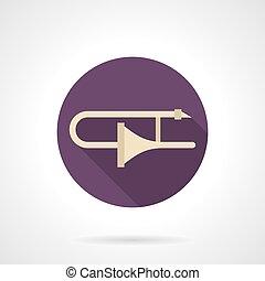 Trombone solo flat round vector icon - Symbol of golden...