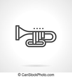 Orchestral trombone simple line vector icon - Symbol of...