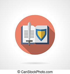 Book about knighthood flat round vector icon - Sword and...