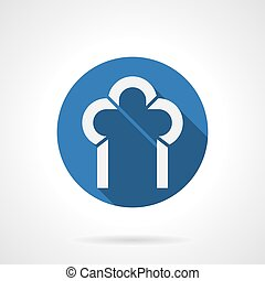 Construction of arches blue round vector icon