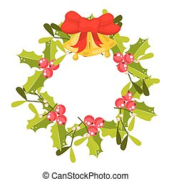 Christmas holly berry wreath vector icon.