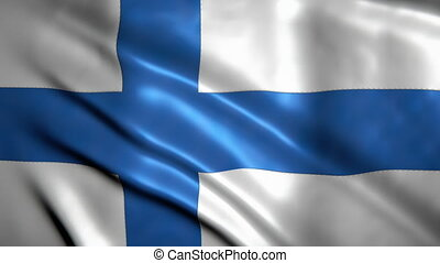 Waving in the wind flag of Finland with visible seams and highly detailed fabric texture.