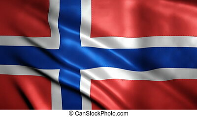 Realistic Ultra-HD flag of Norway waving in the wind. -...