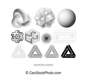 Set of geometric shapes - Big set of stylized geometric...