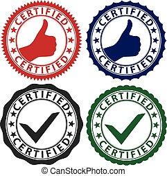 Certified label set, vector illustration