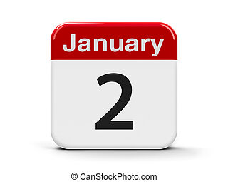 2nd January - Calendar web button - The Second of January,...