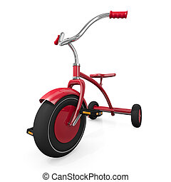 Red tricycle against a white background. High quality 3D...