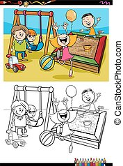 kids on playground coloring book - Cartoon Illustration of...