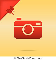 Digital photo camera sign. Cristmas design red icon on gold...